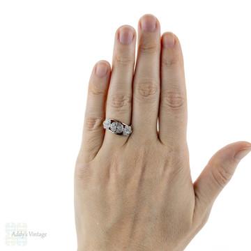Antique Triple Daisy Cluster Ring, Floral Design Ring. Circa 1920s, 18ct Gold & Platinum.