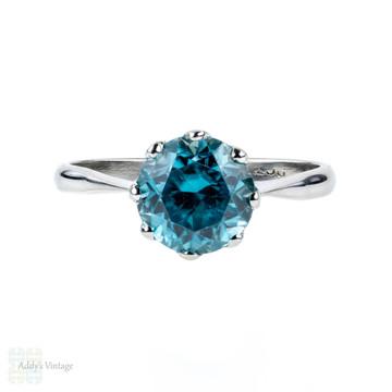 Vintage Blue Zircon 9ct Engagement Ring, Single Stone 9k White Gold Ring.