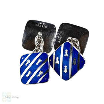 Antique Blue Enamel Cuff Links, Edwardian Sterling Silver Fleur-de-lis Cufflinks.