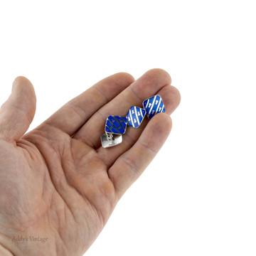 Antique Blue Enamel Cuff Links, Edwardian Sterling Silver Fleur-de-lis Cufflinks.