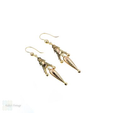 Antique 9ct Gold Earrings, Victorian 1890s Tapered Drop 9k Earrings.