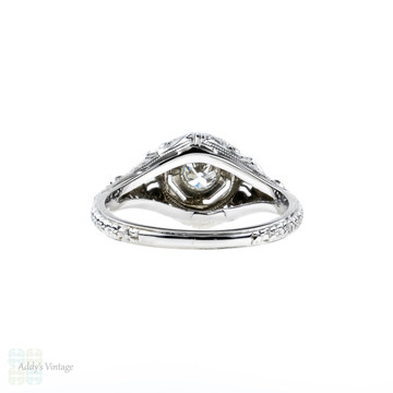 1920s Filigree Diamond Engagement Ring, Old European Cut Diamond in 18k White Gold.