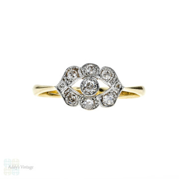 Art Deco Diamond Engagement Ring, Eye Design Diamond Cluster. Circa 1920s, 18ct & Platinum.