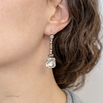 PAYMENT. French Art Deco Asscher Diamond Paste Drop Earrings, Sterling Silver & 9ct Gold.