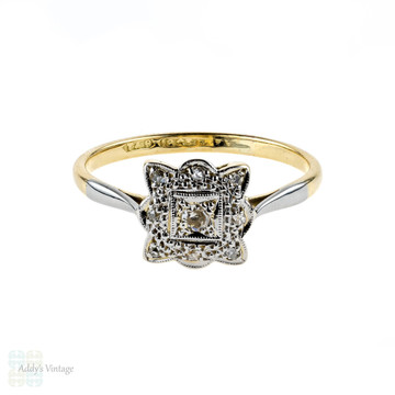 Art Deco Diamond Engagement Ring, Scalloped Square Cluster. Circa 1920s, 18ct & Platinum.