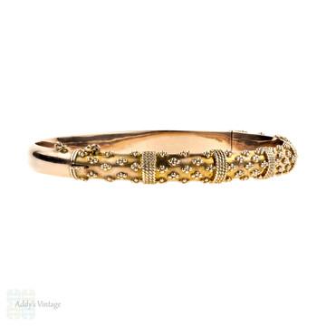 PAYMENT. Edwardian 9ct Rose Gold Bracelet, Antique 9k Etruscan Style Revival Bangle. Circa 1900s.