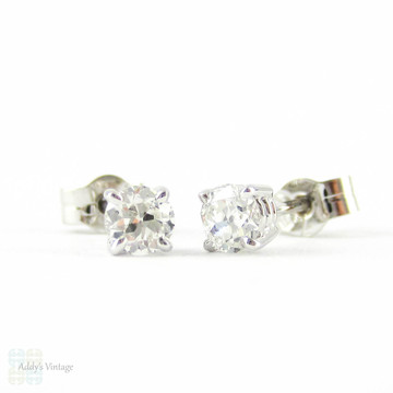 Payment 3. Old European Diamond Stud Earrings. Antique 0.45 ctw Old  Cut Diamonds in Classic 18ct White Gold Mountings.