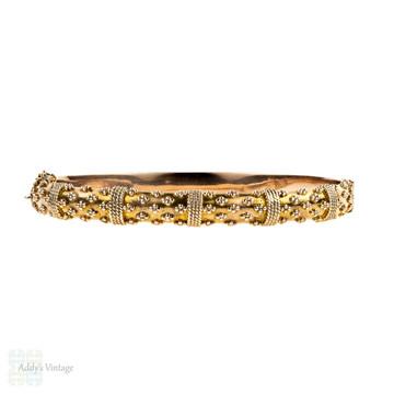 BALANCE. Edwardian 9ct Rose Gold Bracelet, Antique 9k Etruscan Style Revival Bangle. Circa 1900s.