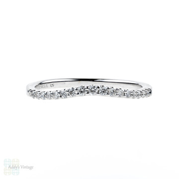 Curved 14k Diamond Wedding Ring, Shaped Contoured 14ct White Gold Band. Size L.5 / 6.