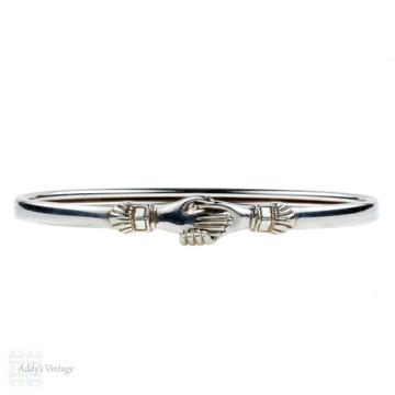 Vintage Fede Gimmel Bracelet, Mid Century Sterling Silver Clasped Hands Bangle.