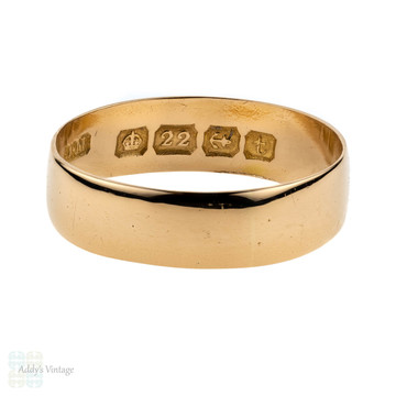 Antique 22ct Wedding Ring, Wide 22k Gold Cigar Band. Circa 1910s, Size N / 6.75.