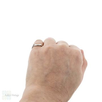 Curved Platinum Wedding Ring, Wishbone Shaped Ladies Wedding Band. Size J / 4.8.