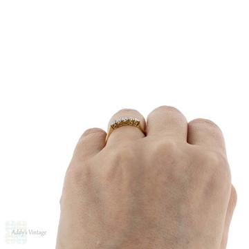 Art Deco Graduated Five Stone Diamond Ring, Vintage Wedding Band. 18ct & Platinum.