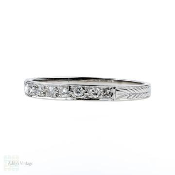 1920s Diamond Wedding Ring, Art Deco Platinum Set Engraved Band. Size O.5 / 7.5.