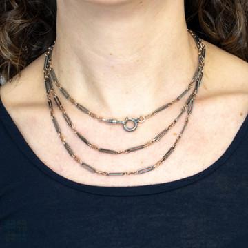 Antique Niello Long Guard Chain, 800 Silver & Gilt Victorian 55 Inch Necklace.