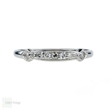 Vintage Diamond Wedding Ring, 1940s 18k White Gold Half Eternity Band.
