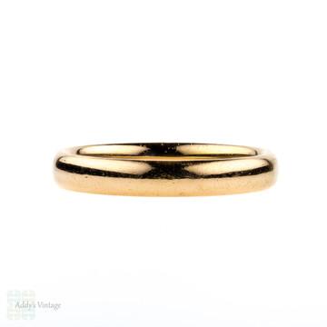 Vintage 22ct Ladies Wedding Ring, 1930s Court Comfort Fit 22k Band. Size L.5 / 6.
