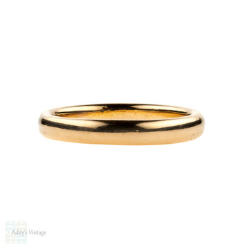 Art Deco 22ct Gold Wedding Ring, Ladies D Profile 22k Band. Circa 1930s, Size M / 6.25.