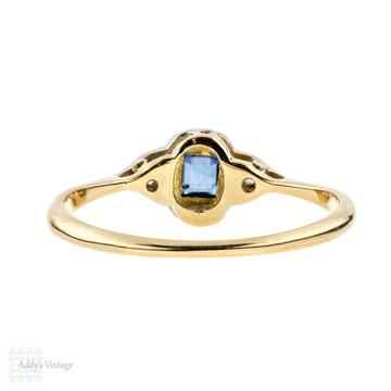 Art Deco Sapphire & Diamond Ring, Dainty Three Stone Ring. 18ct & Platinum.