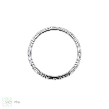 Antique Platinum Engraved Wedding Ring, 1910s Flower Pattern Ladies Band. Size J / 5.