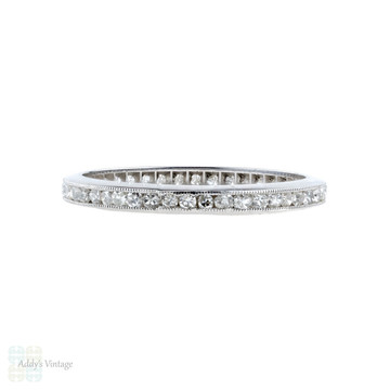 RESERVED. Diamond Eternity Ring, Art Deco 18ct Gold Eternity Full Hoop Wedding Band. Size O / 7.25.