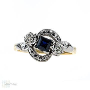 Art Deco Sapphire & Diamond Engagement Ring, Bypass Design Engraved Setting. 18ct & Platinum.