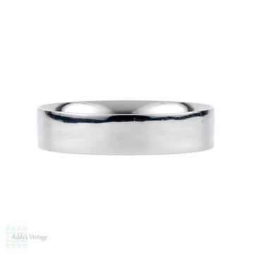 Men's Platinum Wedding Ring, 5mm Flat Court Classic Band. Size T / 9.5.