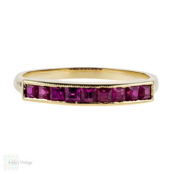 Vintage Wedding Set, Synthetic Ruby Engagement Ring & Wedding Band. 14k Yellow Gold.