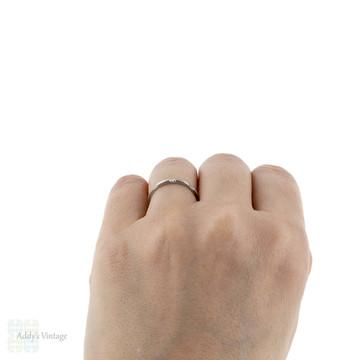 1930s Platinum Wedding Ring, Ridged Narrow Fluted Pattern Ladies Band. Size M / 6.25.