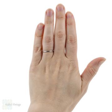 Vintage Platinum Wedding Ring, Narrow Ladies Spacer or Keeper Band. Size M.5 / 6.5.