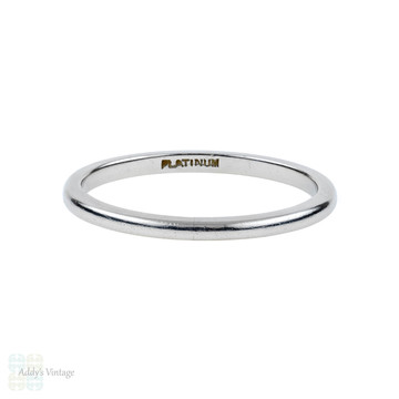 Vintage Platinum Wedding Ring, Narrow Ladies Spacer or Keeper Band. Size M.5 / 6.5.