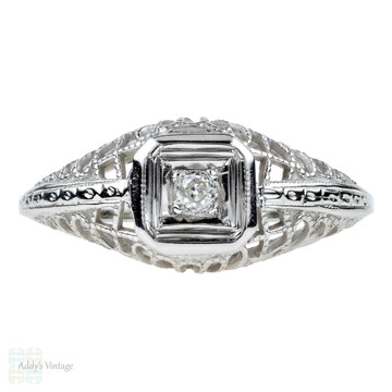 Filigree Engagement Ring, Old European Cut Diamond Ring. 18k White Gold, Circa 1930s.