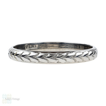 Vintage Engraved Platinum Wedding Ring, Wheat Pattern Ladies Band. Size L.5 / 6.