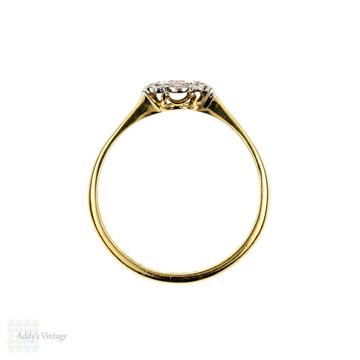 Art Deco Single Stone Diamond Ring, Engraved 1920s Engagement 18ct & Platinum.