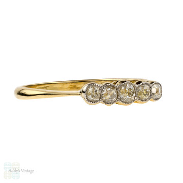 Antique Old Mine Cut Diamond Band, 18ct 18k Graduated Bezel Set Five Stone Ring.