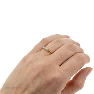 Antique Old Mine Cut Diamond Band, 18ct 18k Graduated Bezel Set Five Stone Ring.