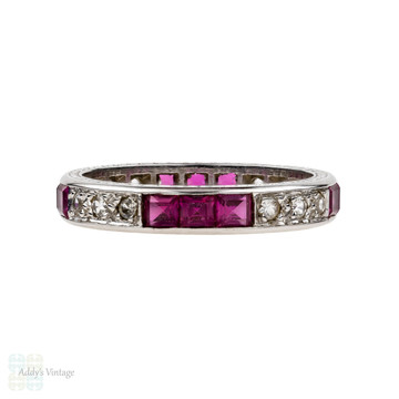 Vintage Synthetic Ruby & Spinel Eternity Ring, 18ct White Gold 1940s Engraved Band. Size M / 6.25.