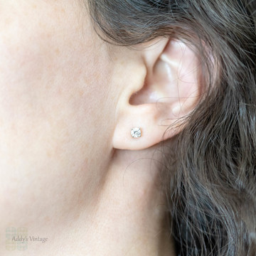 Old European Diamond Stud Earrings. 18k 18ct White Gold 0.45 ctw.