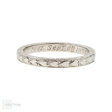 Platinum Engraved Wedding Ring, Vintage Love Heart Design Band. Size N / 6.75.