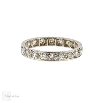 Vintage Diamond Eternity Ring, Art Deco Full Hoop Wedding Band. 0.40ctw, Size J / 5.