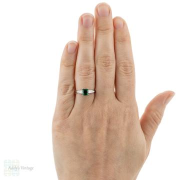 Emerald Engagement Ring, Vintage 1950s Tapered Baguette Diamond Platinum Setting.