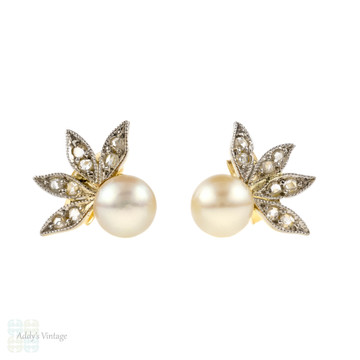 Cultured Pearl & Rose Cut Diamond Earrings, Vintage Winged Design 18ct Gold Studs.