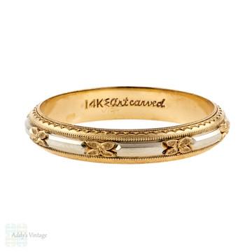 Engraved Men's Floral Wedding Ring, Vintage ArtCarved Two-Tone 14k Gold Band. Size X / 11.5.