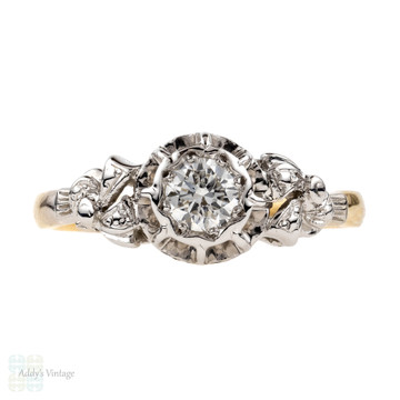 Vintage Diamond Engagement Ring, Exquisite Ribbon Design 0.25 ct. 18ct & Platinum.