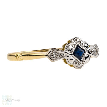 Sapphire & Diamond Art Deco Engagement Ring, Three Stone 18ct Gold 1930s Ring.