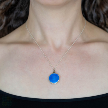 Blue Guilloche Enamel Locket, Antique Sterling Silver Pendant on Chain. Swedish Hallmarks.