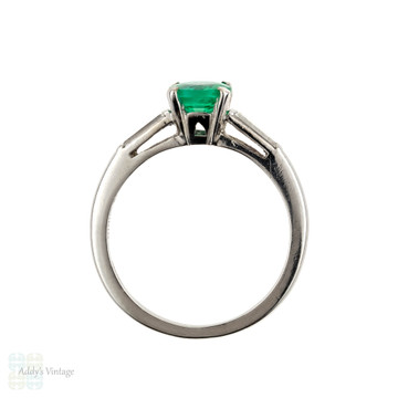 Vintage Emerald Engagement Ring, 1950s Tapered Baguette Diamond Platinum Setting.