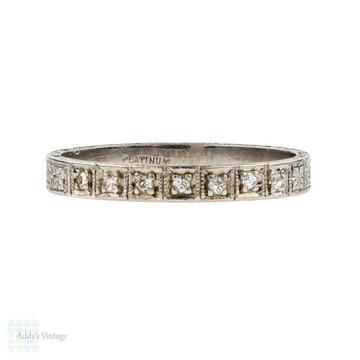 Antique Diamond Wedding Ring, Engraved Art Deco Platinum Band. Size L / 5.75.