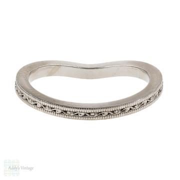 Engraved Curved 18k Wedding Ring. Jabel Vintage Style Wishbone Shaped 18ct White Gold Band.