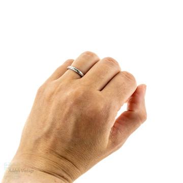 Platinum 1920s Engraved Wedding Ring, Vintage Ladies Floral Design Band. Size L / 5.75.